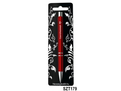 (SZT179) Gravírozott szines golyóstoll 13,6 cm - Szerelmemnek - Valentin napi ajándékok