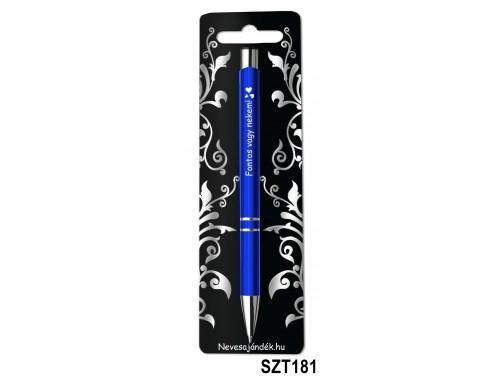 (SZT181) Gravírozott szines golyóstoll 13,6 cm - Fontos vagy nekem - Valentin napi ajándékok