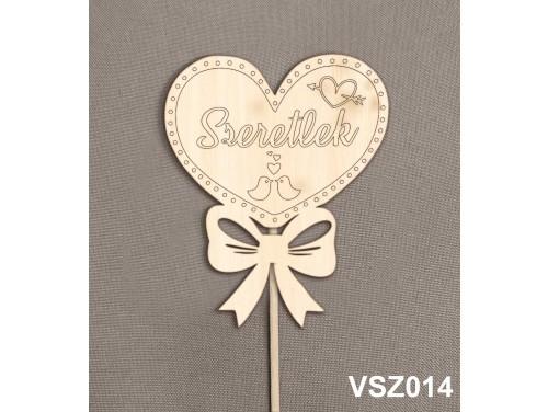 (VSZ014) Virág dekoráció 43 cm - Szeretlek - Kreatív hobby naturfa