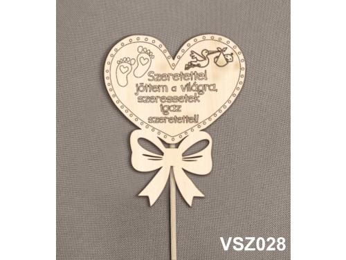 (VSZ028) Virág dekoráció 43 cm - Szeretettel jöttem a világra – Kreatív hobby naturfa
