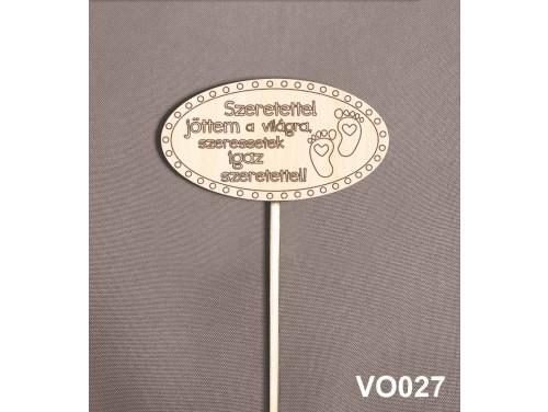 (VO027) Virág dekoráció 43 cm - Szeretettel jöttem a világra – Kreatív hobby naturfa