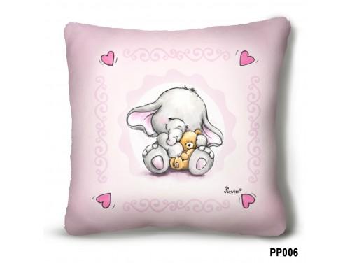 (PP006) Plüss párna 23 cm x 23 cm - Elefánt macival - Elefántos ajándék