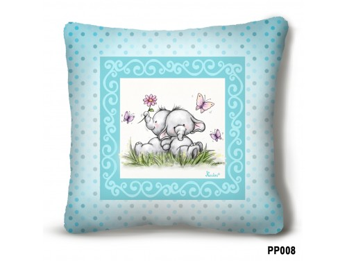 (PP008) Plüss párna 23 cm x 23 cm - Elefántos türkiz plüss párna – Elefántos ajándék