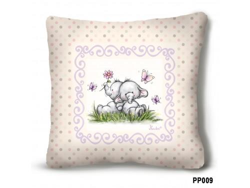 (PP009) Plüss párna 23 cm x 23 cm - Elefántok bézs plüss párna – Elefántos ajándék