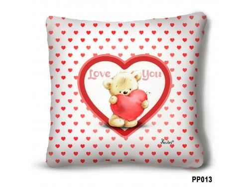 (PP013) Plüss párna 23 cm x 23 cm - Love You Macis - Évfordulós ajándék
