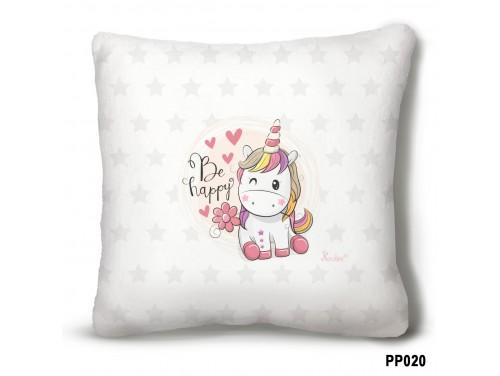 (PP020) Plüss párna 23 cm x 23 cm - Be Happy Unikornis – Unikornis ajándék
