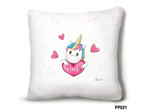 (PP021) Plüss párna 23 cm x 23 cm - Love Unikornis – Unikornis ajándék