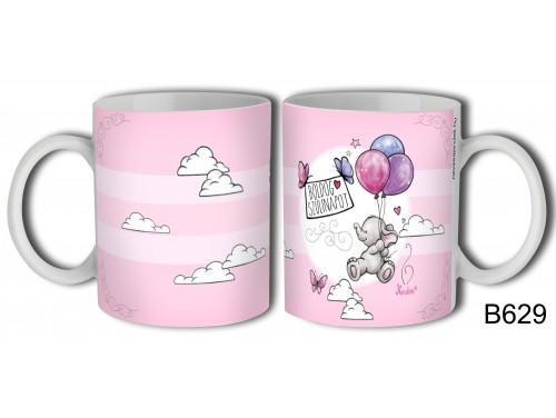(B629) Bögre 3 dl - Boldog Szülinapot rózsaszín – Elefántos Bögre – Szülinapi Ajándék