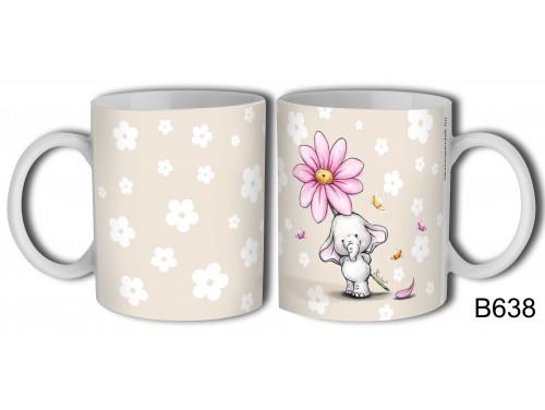 (B638) Bögre 3 dl - Elefánt virággal – Elefántos Bögre – Ajándék Ötletek