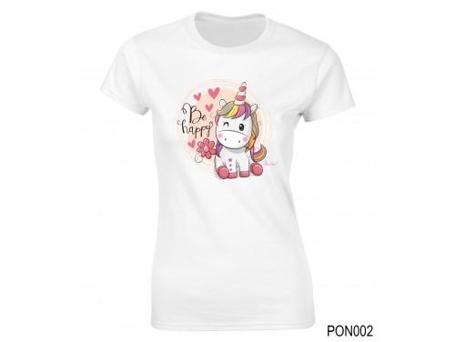 (PON002) Női póló - Be Happy Unikornis – Ajándék Ötletek Nőknek