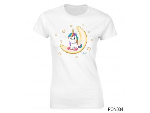 (PON004) Női póló - Unikornis a Holdon – Ajándék Ötletek Nőknek