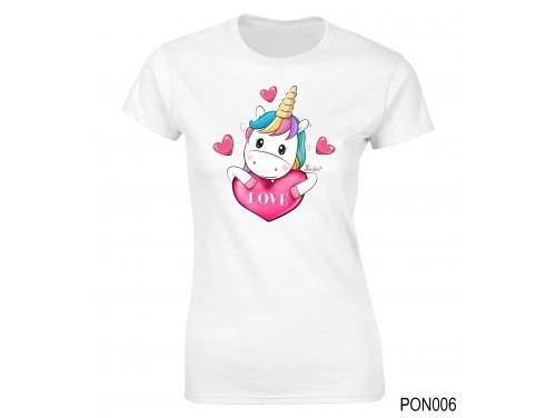 (PON006) Női póló - Love Unikornis – Ajándék Ötletek Nőknek