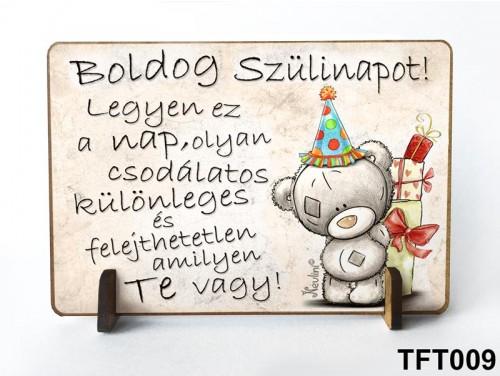 (TFT009) Kis fa tábla 11 cm x 7,5 cm - Boldog Szülinapot Macis – Szülinapi ajándék