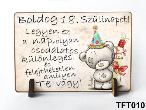 (TFT010) Kis fa tábla 11 cm x 7,5 cm - Boldog 18. Szülinapot – Szülinapi ajándék