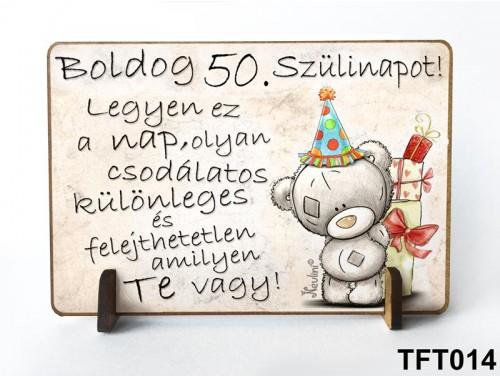 (TFT014) Kis fa tábla 11 cm x 7,5 cm - Boldog 50. Szülinapot – Szülinapi ajándék