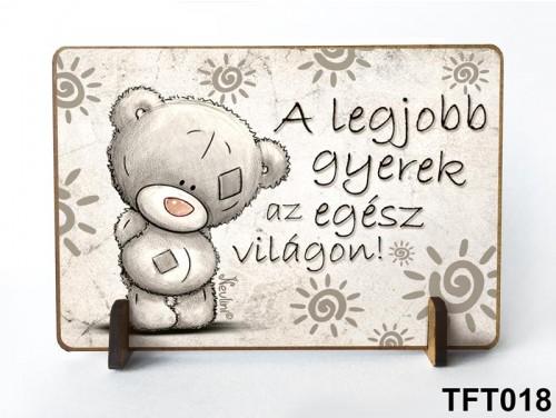 (TFT018) Kis fa tábla 11 cm x 7,5 cm - Legjobb gyerek – Ajándék gyerekeknek