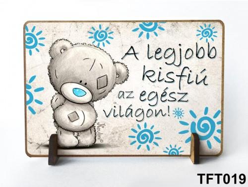 (TFT019) Kis fa tábla 11 cm x 7,5 cm - Legjobb kisfiú – Ajándék gyerekeknek