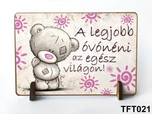(TFT021) Kis fa tábla 11 cm x 7,5 cm - A legjobb óvónéni – Ajándék Óvónéniknek