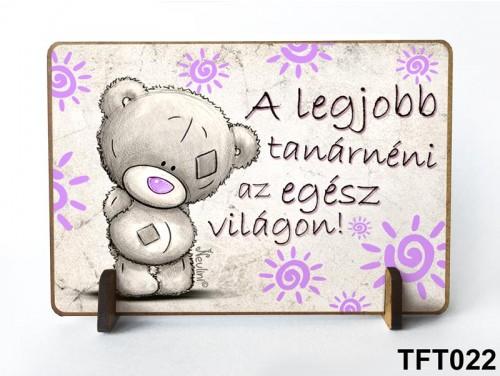 (TFT022) Kis fa tábla 11 cm x 7,5 cm - Legjobb tanárnéni – Ajándék tanároknak