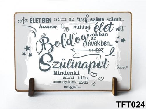 (TFT024) Kis fa tábla 11 cm x 7,5 cm - Boldog Szülinapot – Szülinapi ajándék