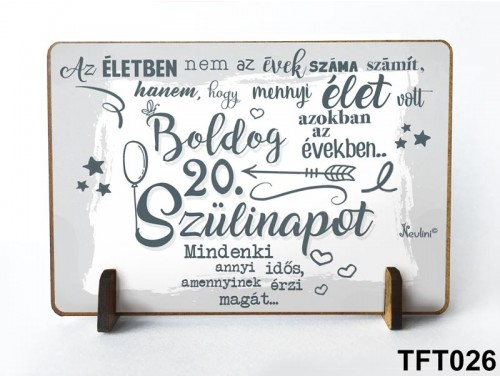 (TFT026) Kis fa tábla 11 cm x 7,5 cm - Boldog 20. Szülinapot – Szülinapi ajándék