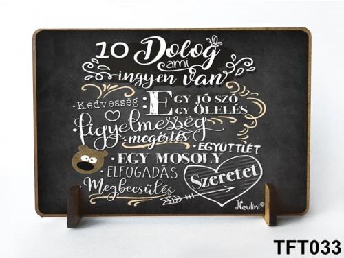 (TFT033) Kis fa tábla 11 cm x 7,5 cm - 10 dolog, ami ingyen van – Motivációs ajándék