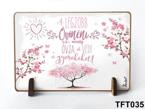(TFT035) Kis fa tábla 11 cm x 7,5 cm - A legjobb óvónéni – Ajándék Óvónőnek