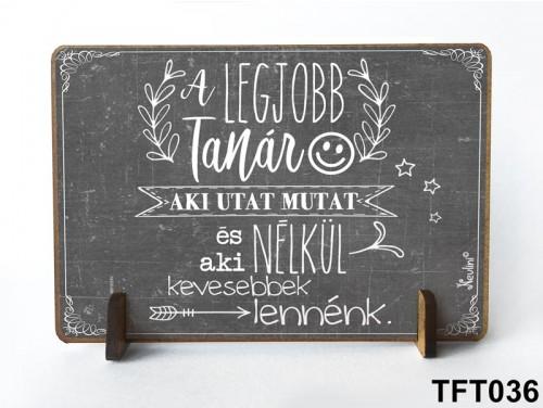 (TFT036) Kis fa tábla 11 cm x 7,5 cm - Legjobb tanár – Ajándék tanároknak
