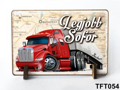 (TFT054) Kis fa tábla 11 cm x 7,5 cm - Legjobb sofőr – Ajándék sofőrnek