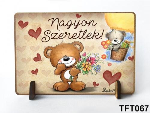 (TFT067) Kis fa tábla 11 cm x 7,5 cm - Nagyon szeretlek – Évfordulós ajándék