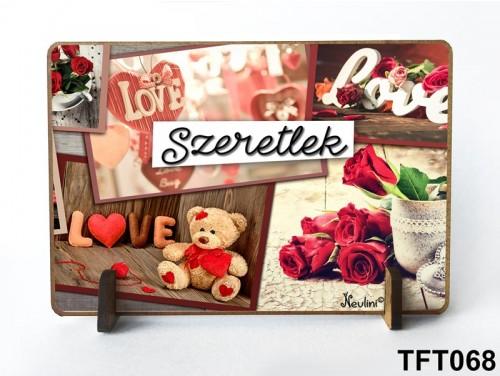 (TFT068) Kis fa tábla 11 cm x 7,5 cm - Szeretlek – Évfordulós ajándék