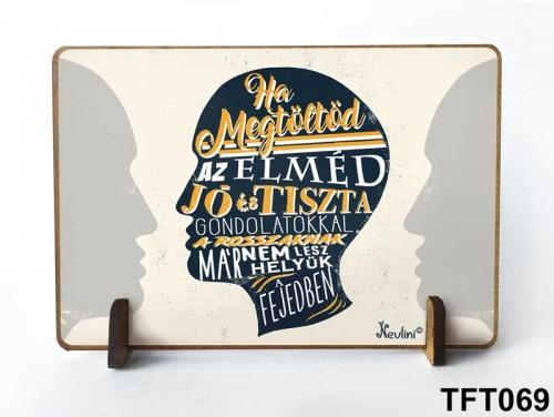 (TFT069) Kis fa tábla 11 cm x 7,5 cm - Ha megtöltöd az elméd – Motivációs ajándék