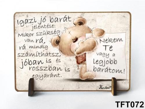 (TFT072) Kis fa tábla 11 cm x 7,5 cm - Igazi barát – Ajándék barátnak