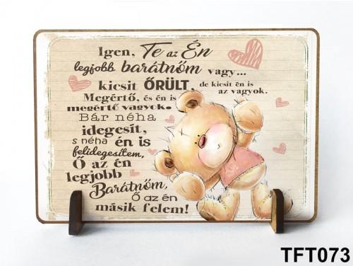 (TFT073) Kis fa tábla 11 cm x 7,5 cm - Legjobb barátnő – Ajándék barátnőknek