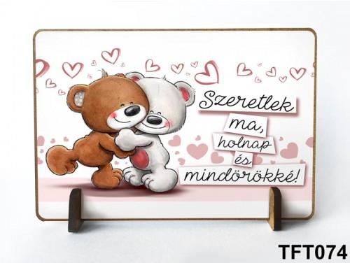 (TFT074) Kis fa tábla 11 cm x 7,5 cm - Szeretlek mindörökké – Szerelmes ajándék
