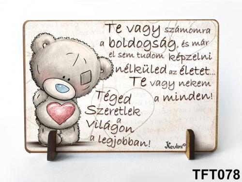 (TFT078) Kis fa tábla 11 cm x 7,5 cm - Te vagy a boldogság – Évfordulós ajándék