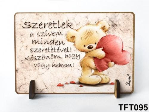 (TFT095) Kis fa tábla 11 cm x 7,5 cm - Szeretlek szívem – Évfordulós ajándék