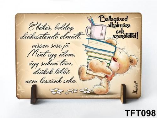 (TFT098) Kis fa tábla 11 cm x 7,5 cm - E békés boldog – Ballagási ajándék