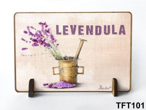 (TFT101) Kis fa tábla 11 cm x 7,5 cm - Levendula – Levendula ajándék