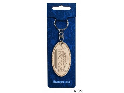 (FKT022) Gravírozott Fa Kulcstartó 6,5 cm x 3,5 cm - A legjobb fodrász – Ajándék Fodrászoknak