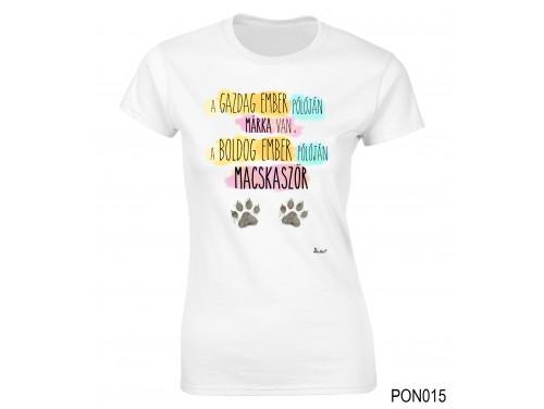 (PON015) Női póló - Boldog Ember Macskaszőr – Cicás ajándék
