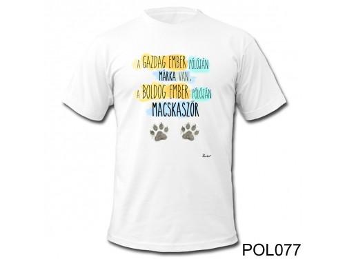 (POL077) Vicces Póló - Boldog Ember Macskaszőr – Cicás ajándék