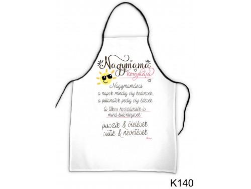 (K140) Kötény 50 cm x 70 cm - Nagymama konyhája – Ajándék Nagymamának