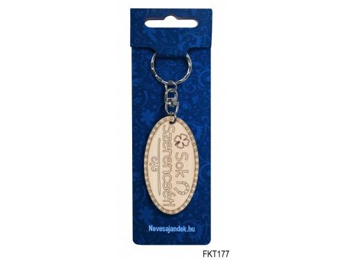 (FKT177) Gravírozott Fa Kulcstartó 6,5 cm x 3,5 cm - Sok szerencsét – Gravírozott Fa Kulcstartó