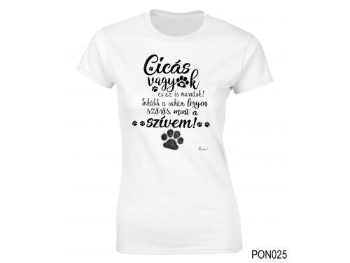 (PON025) Női póló - Cicás vagyok – Ciciás Ajándék