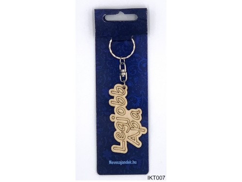 (IKT007) Gravírozott Fa Kulcstartó 4 cm x 7 cm - Legjobb apa – Ajándék Apáknak