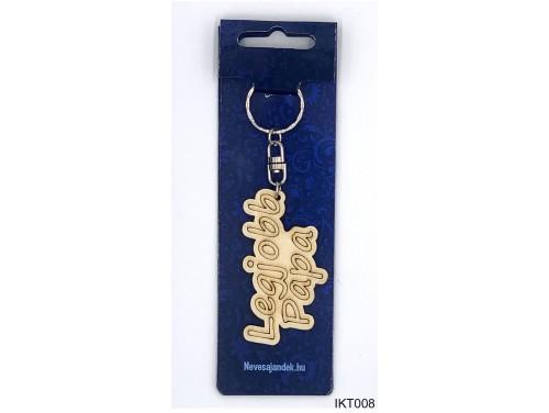 (IKT008) Gravírozott Fa Kulcstartó 4 cm x 7 cm - Legjobb Papa – Ajándék Nagypapáknak