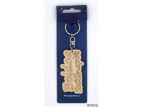 (IKT012) Gravírozott Fa Kulcstartó 4 cm x 7 cm - Boldog szülinapot - Szülinapi ajándékok