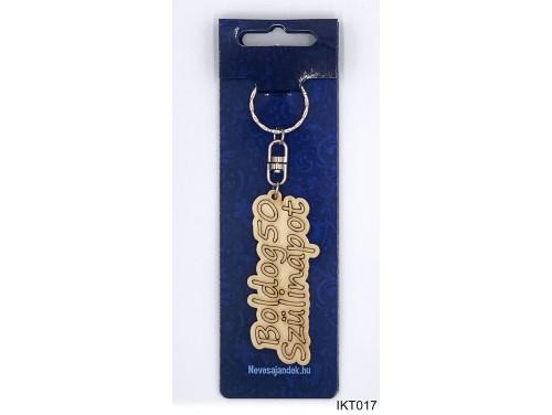 (IKT017) Gravírozott Fa Kulcstartó 4 cm x 7 cm - Boldog 50. szülinapot - Szülinapi ajándékok