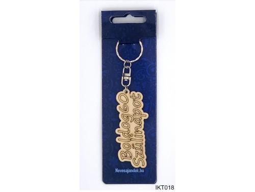 (IKT018) Gravírozott Fa Kulcstartó 4 cm x 7 cm - Boldog 60. szülinapot - Szülinapi ajándékok